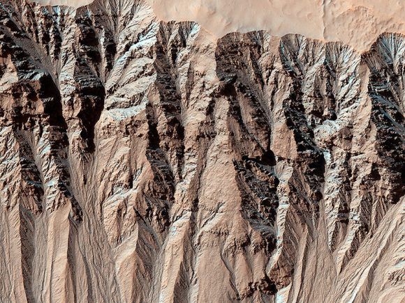 This image covers a location that has been imaged several times to look for changes in gullies.  This is in the Terra Sirenum region, part of the southern highlands in the mid-latitudes.  Credit: NASA/JPL/Universi