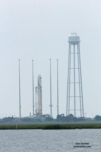 Antares rocket and Cygnus spacecraft await launch on Orb 2 mission on July 13, 2014 from Launch Pad 0A at NASA Wallops Flight Facility Facility, VA. Credit: Ken Kremer - kenkremer.com