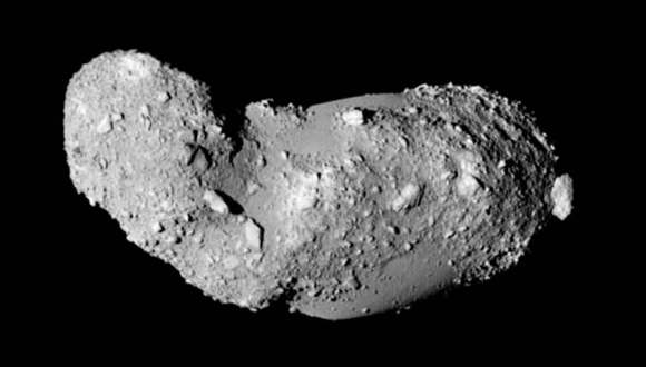 Detailed view of the likely contact binary asteroid 25143 Itokawa visited by the Japanese spacecraft Hayabusa in 2005. Credit: JAXA