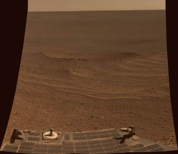 """This scene from NASA's Mars Exploration Rover Opportunity shows """"Lunokhod 2 Crater."""" Image Credit: NASA"""