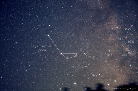 The Sagittarius Spoon with dwarf planet Pluto (14.1 Mag) crossing the star fields of Sagittarius.  The arrow points to the location of Pluto. Image taken from Dexter, Iowa on June 29, 2014 around 3:50 am local time. Credit and copyright: John Chumack.