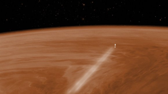 Artist's conception of Venus Express doing an aerobraking maneuver in t