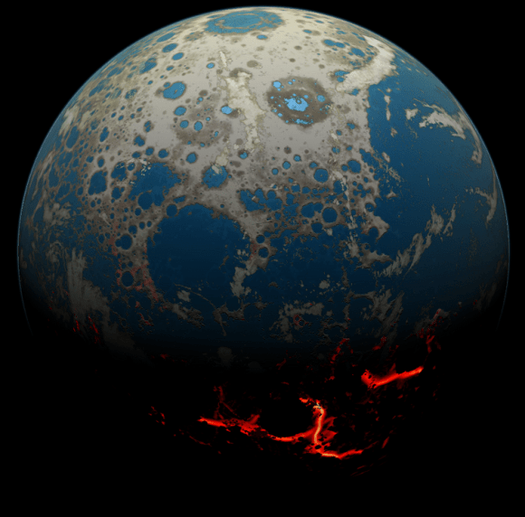 Artist's conception of early Earth after several large asteroid impacts, moving magma on to the surface. Credit: Simone Marchi/SwRI