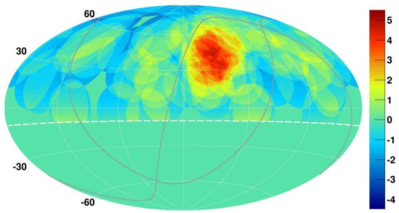 "A map of cosmic ray concentrations in the northern sky, showing a ""hotspot"" (red) in the location of the Big Dipper. Credit:  K. Kawata, University of Tokyo Institute for Cosmic Ray Research"