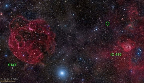 Image of the sky where the radio burst FRB 121102 was found, in the constellation Auriga. You can see its location with a green circle. At left is supernova remnant S147 and at right, a star formation area called IC 410. Credit: Rogelio Bernal Andreo (DeepSkyColors.com)