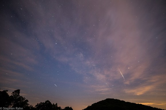 "Two ""late"" Perseid meteors captured in one shot on August 15, 2014.  Credit and copyright: Stephen Rahn."