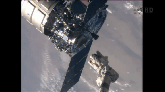 Cygnus Orb-2 spacecraft 'Janice Voss' bids farewell to the ISS at 6:40 a.m.  EDT, Friday, Aug. 15, 2014.  It's set to reenter the atmosphere on Aug. 17. Credit: NASA TV