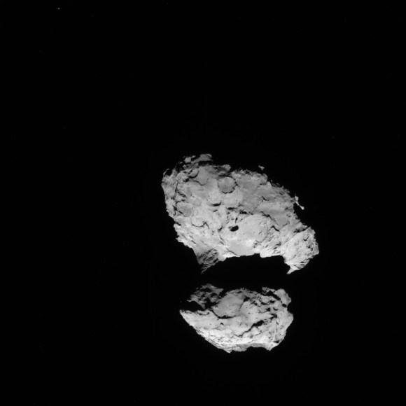 Rosetta NAVCAM image taken on 10 August 2014 from a distance of about 110 km from comet 67P/Churyumov-Gerasimenko. The comet nucleus is about 4 km across.  Credit: ESA/Rosetta/NAVCAM