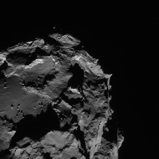 The Rosetta navigation camera sent back this image of Comet 67P/Churyumov-Gerasimenko on August 23, showing about a quarter of the four-kilometer (2.5-mile) comet. This image was acquired from a distance of 61 kilometers (38 miles). Credit: ES
