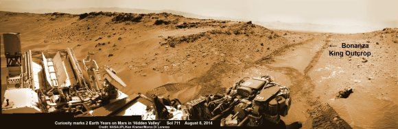 NASA's Curiosity rover marks 2nd anniversary on Mars at 'Hidden Valley' looking back to ramp with 4th drill site target at 'Bonanza King' rock outcrop as shown in this photo mosaic view captured on Aug. 6, 2014, Sol 711.  Navcam camera raw images stitched and colorized.  Credit: NASA/JPL-Caltech/Ken Kremer-kenkremer.com/Marco Di Lorenzo