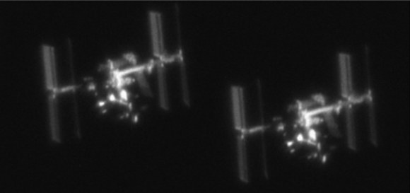 Photos of the International Space Station taken from the ground, using a 10-in