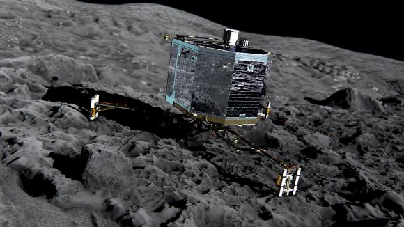 Artist impression of Philae on the surface of comet 67P/Churyumov-Gerasimenko.  Credit: ESA/ATG medialab