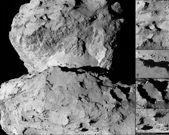 This image of comet 67P/Churyumov-Gerasimenko shows the diversity of surface structures on the comet's nucleus. It was taken by the Rosetta spacecraft's OSIRIS narrow-angle camera on August 7, 2014. At the time, the spacecraft was 65 miles (104 kilometers) away from the 2.5 mile (4 kilometer) wide nucleus.  Credit:  ESA/Rosetta/MPS for OSIRIS