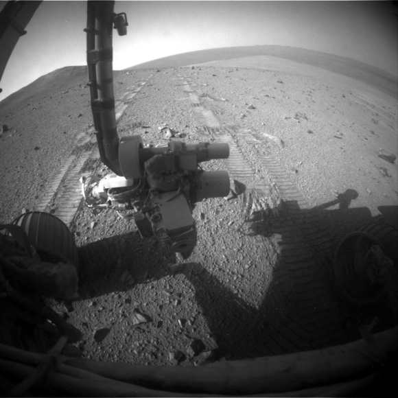 A raw shot from the front hazcam of NASA's Opportunity rover taken on S