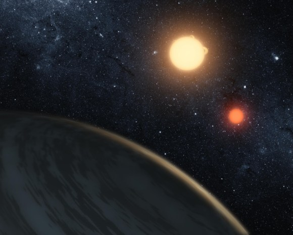 An artist's conception of a circumbinary planet. Credit: NASA/JPL-Caltech/T. Pyle