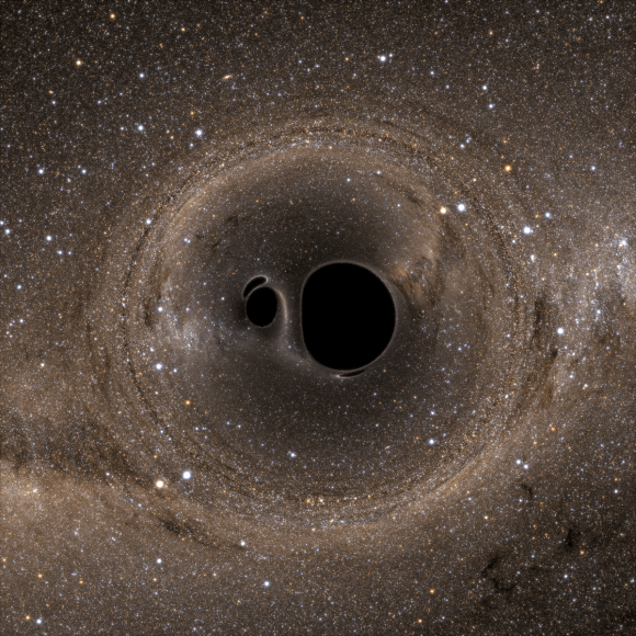 A binary black hole system, viewed from above. Image Credit: Bohn et al. (see http://arxiv.org/abs/1410.7775)