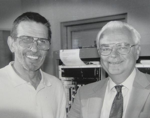 Leonard Nimoy with SETI astronomer Frank Drake on September 8, 1994. Seth Shostak, also from SETI, was the photographer. Image courtesy the Drake family.