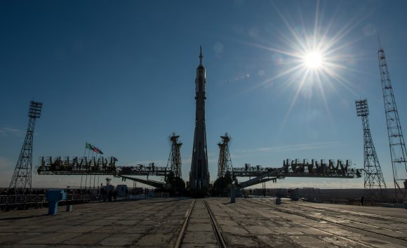 Soyuz Spacecraft Rolled Out For Launch of One-Year Crew . The Soyuz TMA-16M spacecraft is seen after having rolled out by train to the launch pad at the Baikonur Cosmodrome, Kazakhstan, Wednesday, March 25, 2015. NASA astronaut Scott Kelly and Russian cosmonauts Mikhail Kornienko and Gennady Padalka of the Russian Federal Space Agency (Roscosmos) are scheduled to launch to the International Space Station in the Soyuz at 3:42 p.m. EDT, Friday, March 27 (March 28, Kazakh time). Credit: NASA/Bill Ingalls