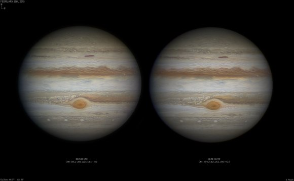 A high resolution stereo pair of Jupiter and its Great Red Spot, captured on February 26, 2015. The two images were taken roughly five minutes apart. Credit and copyright: Damian Peach.