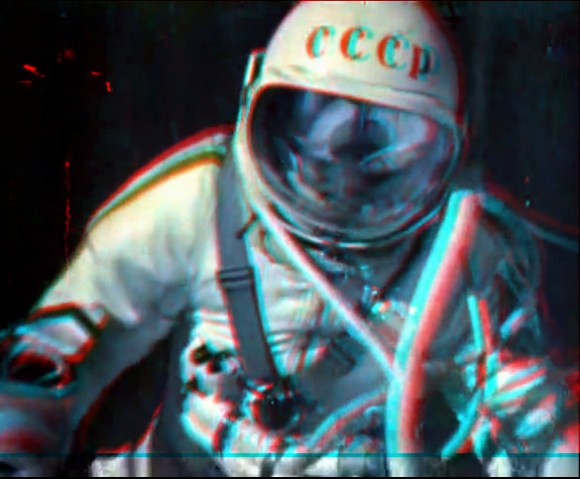 Alexei Leonov during the first ever spacewalk on March 18, 1965. 3-D anaglyph created from individual frames from the movie of the walk. Credit: Andrew Chaikin.