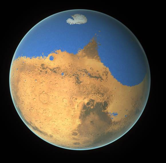 NASA scientists have determined that a primitive ocean on Mars held more water than Earth's Arctic Ocean and that the Red Planet has lost 87 percent of that water to space. Credit: NASA/GSFC