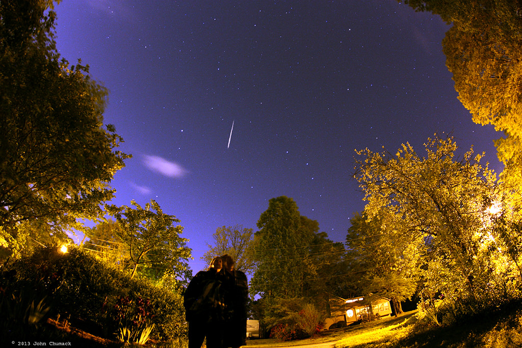 A lucky capture of a 2013 Lyrid meteor. Image credit and copyright: John Chumack