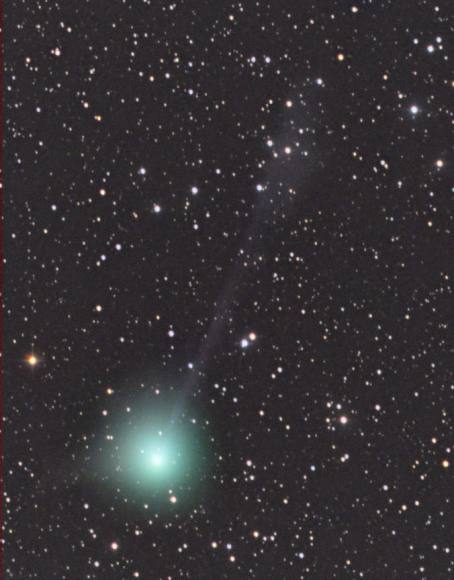 Comet C/2014 Q2 Lovejoy on May 7 with its emerald coma and faint gas tail. Lovejoy is currently around magnitude +7.5 and slowly fading. Credit: Rolando Ligustri