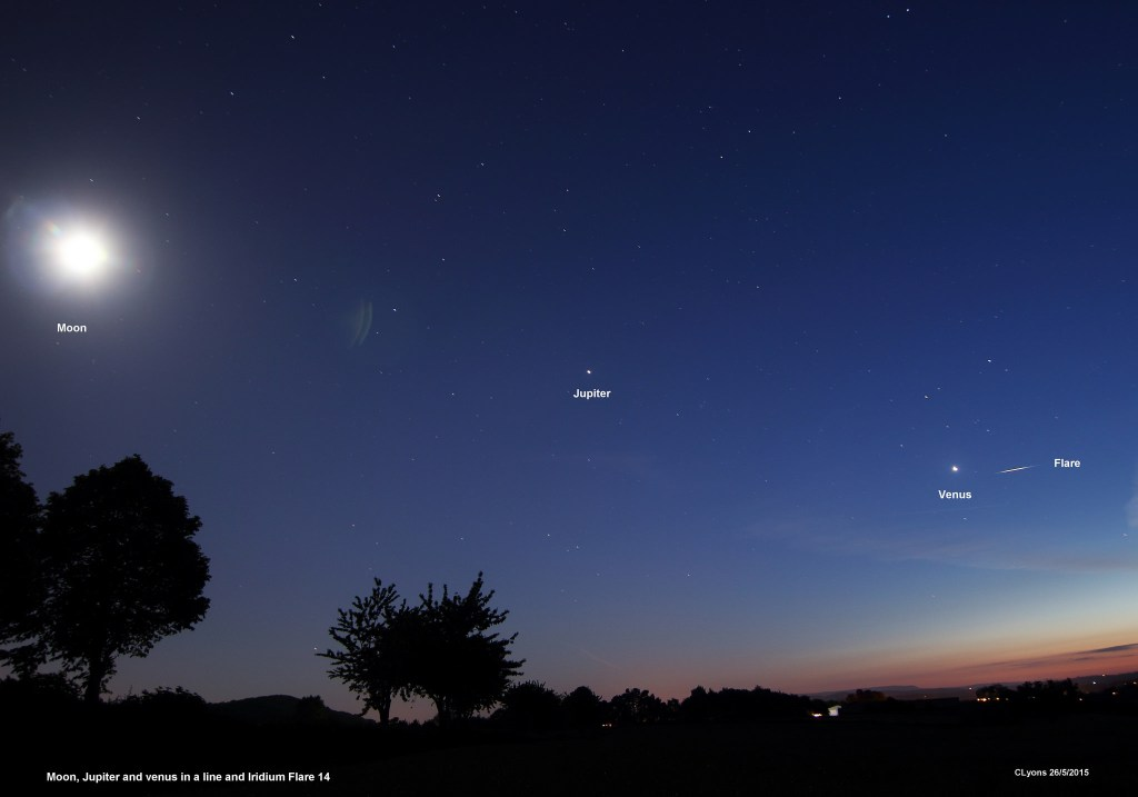 Getting closer... Venus, Jupiter, the Moon and an iridium flare on the night of May 26th, 2015. Image credit and copyright: Chris Lyons