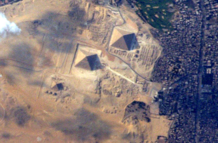 "The Great Egyptian Pyramids of Giza from space and the International Space Station on 10 June 2015.  ""It took me until my last day in space to get a good picture of these! Credit:  NASA: Terry Virts/@AstroTerry"