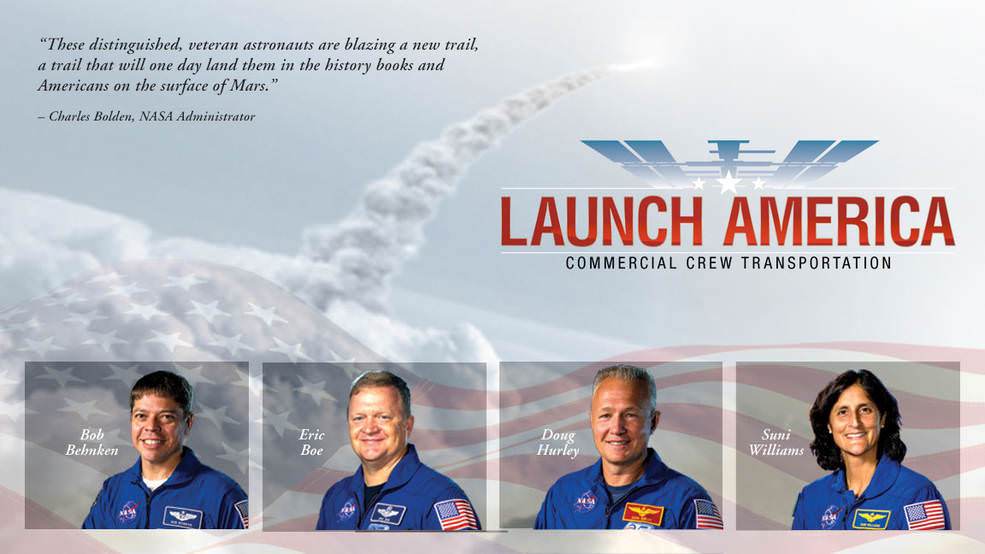 NASA has selected experienced astronauts Robert Behnken, Eric Boe, Douglas Hurley and Sunita Williams to work closely with The Boeing Company and SpaceX to develop their crew transportation systems and provide crew transportation services to and from the International Space Station.  Credits: NASA