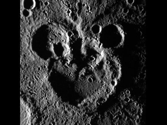 Move over, Pluto... Disney already has dibs on Mercury as seen in this MESSENGER photo. Image credit:  NASA/JHAPL/Carnegie institution of Washington