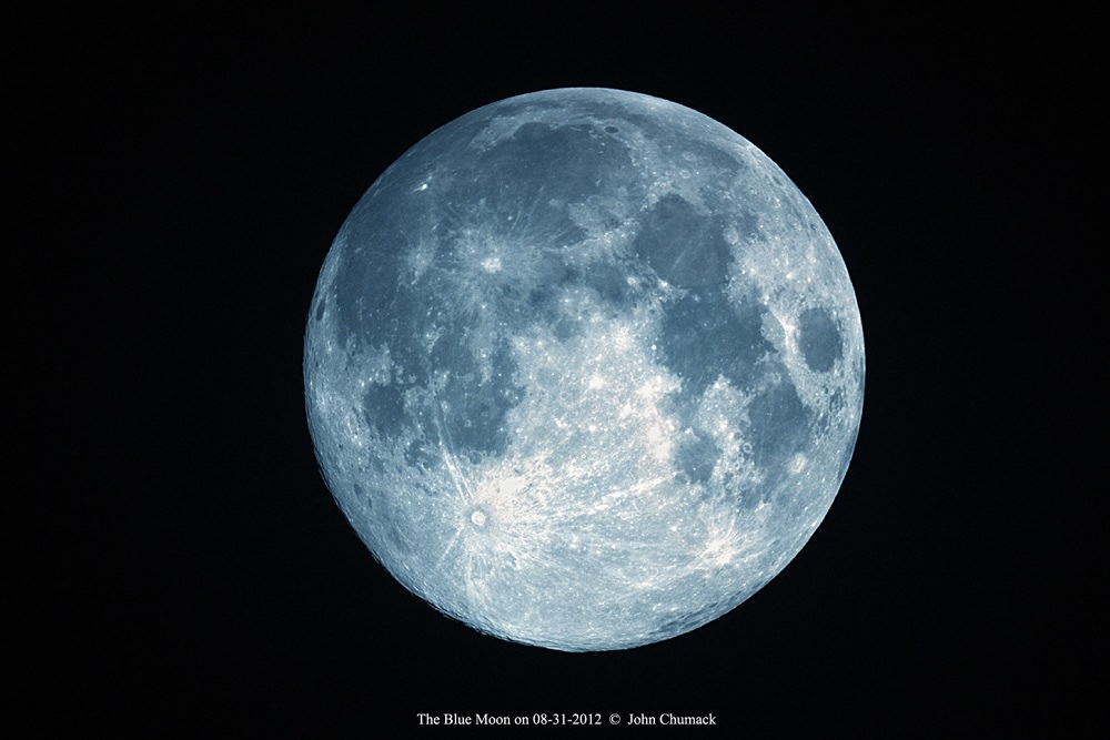 An artificially created 'Blue Moon,' using the white balance settings on the camera. Image credit and copyright: John Chumack