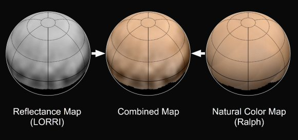 New Horizons scientists combined the latest black and white map of Pluto's surface features (left) with a map of the planet's colors (right) to produce a detailed color portrait of the planet's northern hemisphere (center). Credits: NASA/JHUAPL/SWRI
