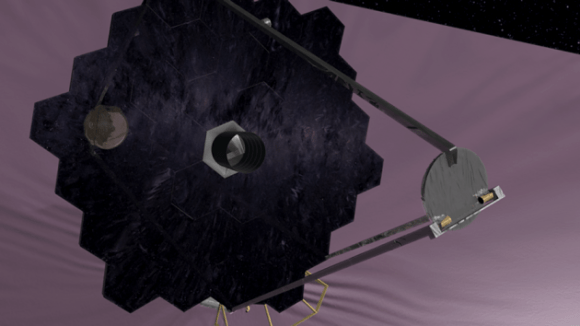 Artist's conception of the proposed High-Definition Space Telescope, which would have a giant segmented mirror and unprecedented resolution at optical and UV wavelengths. (NASA/GSFC)