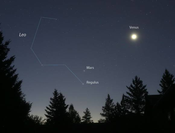 Mars and Regulus are already close. This photo was taken this morning (Sept. 21) about an hour 10 minutes before sunrise. Credit: Bob King