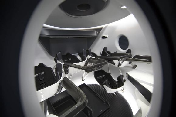 A look inside SpaceX's 'Crew Dragon' from an exterior window. Credit: SpaceX