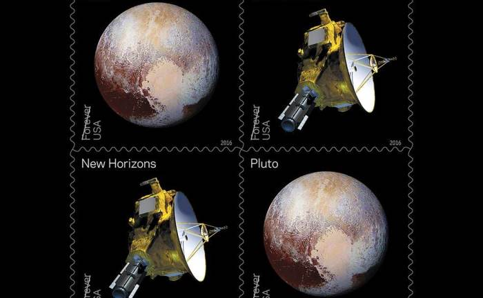 Here's an updated stamp for the newly explored Pluto. Image credit: USPS