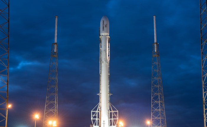 SpaceX Falcon 9 rocket for Orbcomm OG2 launch slated for Dec. 20 stands vertical at pad 40 at Cape Canaveral, Fla.  Credit: SpaceX