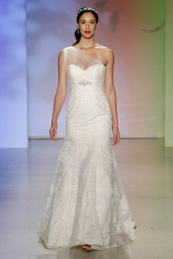 NEW YORK, NY - OCTOBER 05: A model walks the runway at the Alfred Angelo Spring 2017 Bridal Show with Disney Weddings at EZ Studios on October 5, 2016 in New York City. (Photo by JP Yim/Getty Images for Alfred Angelo)