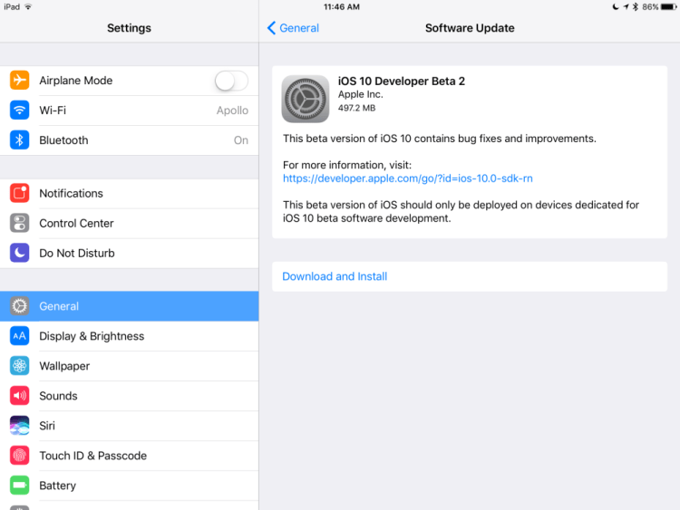 iOS 10-beta