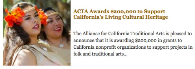 Thank you to the Alliance for California Traditional Arts for their suport.