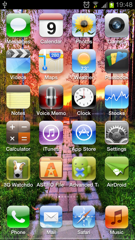 iPhone 5 fake launcher for android - unpocogeek.com