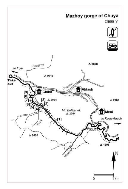 Mazhoy gorge map