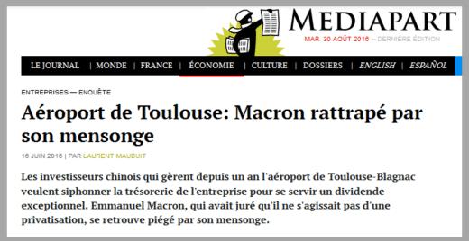 macron mensonge aeroport toulouse blagnac