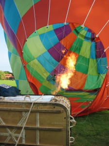 Inflating the canopy