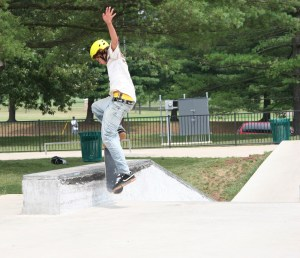 Skateboarder Jumping onto Wall (2)