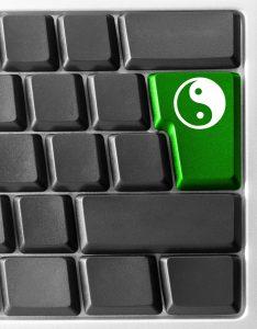 Computer keyboard with yin yan key