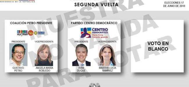 Así será el tarjetón electoral para la segunda vuelta presidencial