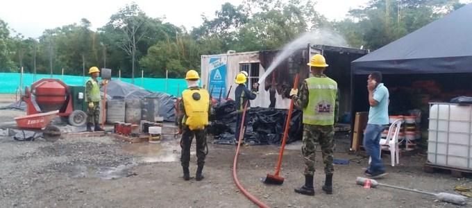 Soldados lograron controlar un incendio en la Subestación eléctrica de EPM del municipio de Carepa
