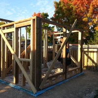 Walls framed and braced
